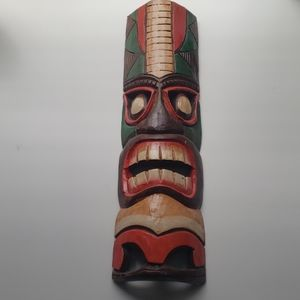 Hand Crafted Wooden Tiki Totem Wall Masks 19""